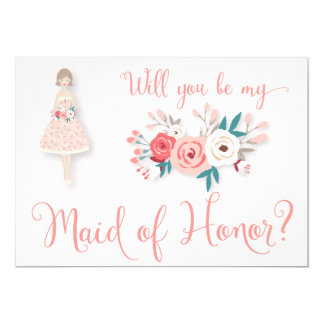 Will You Be My Maid Of Honor Cards Brunette