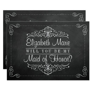 Will You Be My Maid Of Honor? Chalkboard Cards 13 Cm X 18 Cm Invitation Card