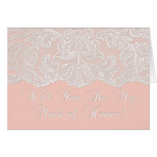 will you be my maid of honor coral greeting card