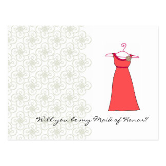 Will you be my Maid of Honor? Customizable Postcard