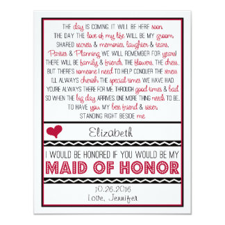 Will you be my Maid of Honor? Deep Red/Black Poem 4.25x5.5 Paper Invitation Card