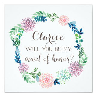 Will you be my maid of honor, flowers, watercolor card