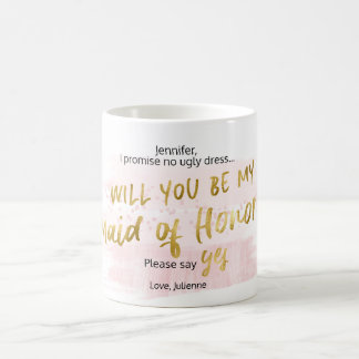 Will you be my Maid of Honor Gold Blush Watercolor Coffee Mug