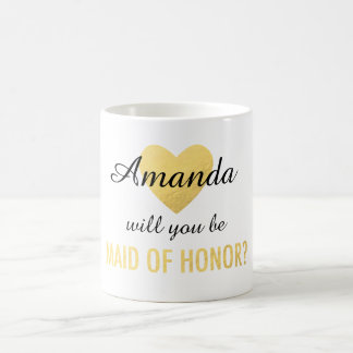 Will you be my maid of honor gold heart mug