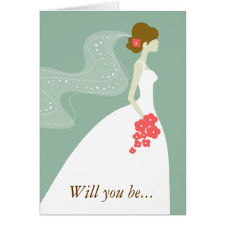 Will You Be My Maid of Honor? Green Brown Note Card