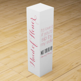 Will you be my maid of honor matron gift box wine bottle box