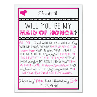 Will you be my Maid of Honor? Pink/Black Collage Card