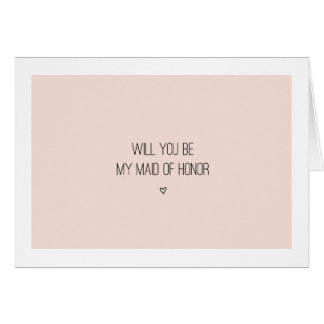 Will You Be My Maid of Honor | Pink Card - folded