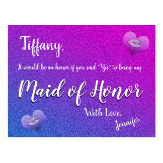 Will You Be My Maid of Honor? Rainbow Glitter Look Postcard