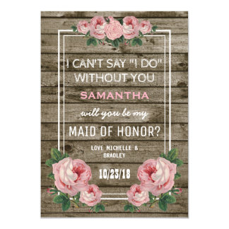 Will you be my Maid of Honor | Rustic Vintage 13 Cm X 18 Cm Invitation Card