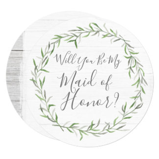 Will You Be My Maid of Honor Rustic Wood & Wreath Card