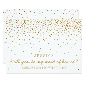 Will You Be My Maid Of Honor Vintage Gold Confetti 13 Cm X 18 Cm Invitation Card