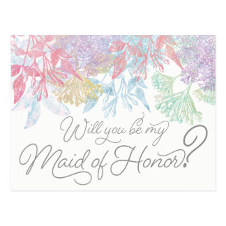 Will You Be My Maid of Honor Watercolor Floral Postcard