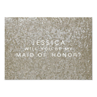 Will You Be My Maid of Honor White Sequins Card