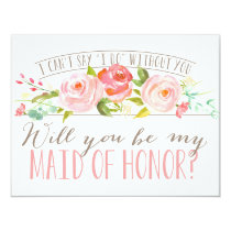 Will You Be My Maid of Honour   Bridesmaid 11 Cm X 14 Cm Invitation Card