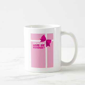 Will you be my maid of honour? pink bows basic white mug