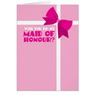 Will you be my maid of honour? pink bows greeting card