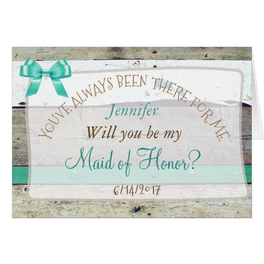 Will you be my Maid of Honour Rustic Wood Card