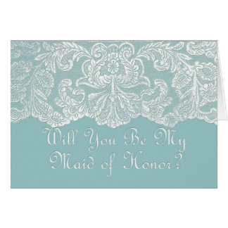 will you be my maid of honour? teal greeting card