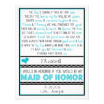 Will you be my Maid of Honour? Turquoise/Black Custom Invites