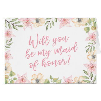 Will you be my Maid of honour wedding card