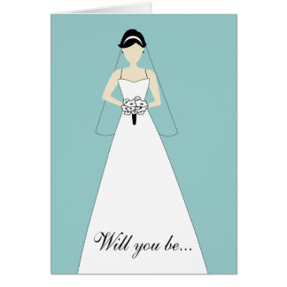 Will You Be My Maid of Honour? White Blue Note Card