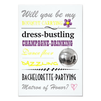 """""""Will you be my Matron of Honor?"""" 9 Cm X 13 Cm Invitation Card"""