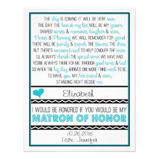 Will you be my Matron of Honor? Blue/Black Poem Announcements