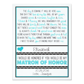 Will you be my Matron of Honor? Blue/Black Poem V2 11 Cm X 14 Cm Invitation Card