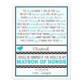 Will you be my Matron of Honor Blue Black Poem V2 Custom Invitation