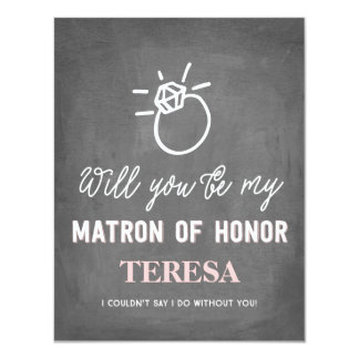 Will You Be My Matron of Honor | Bridesmaid 11 Cm X 14 Cm Invitation Card