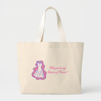 Will You Be My Matron Of Honor (Dress) Large Tote Bag