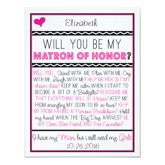 Will you be my Matron of Honor? Pink/Black Collage 11 Cm X 14 Cm Invitation Card