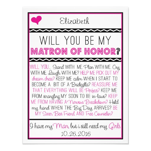 Will you be my Matron of Honor? Pink/Black Collage Personalized Invite