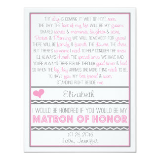 Will you be my Matron of Honor? Pink/Gray Poem 11 Cm X 14 Cm Invitation Card