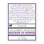 Will you be my Matron of Honour? Purple/Black Poem Custom Invites