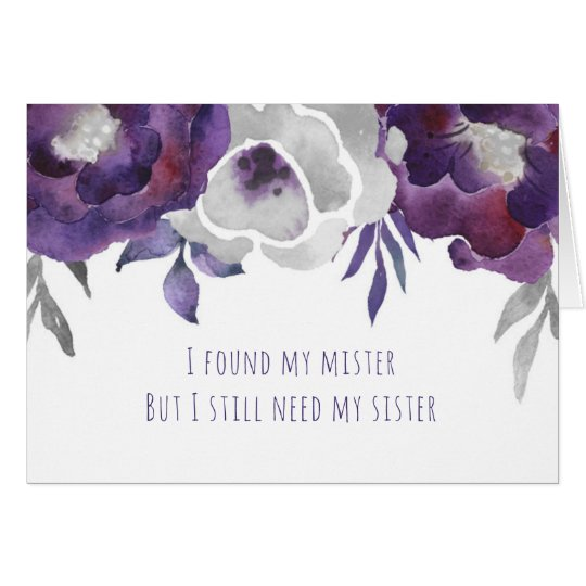 Will you be my Matron of Honour purple floral Card