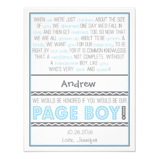Will you be my Page Boy? Baby Blue/Gray Poem Card Custom Announcements