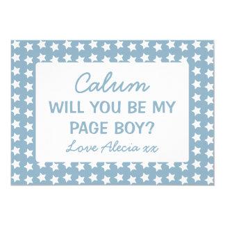 Will You Be My Page Boy Blue Stars 13 Cm X 18 Cm Invitation Card