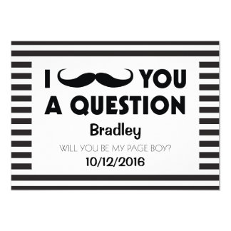 Will You Be My Page Boy Moustache Black Stripes 13 Cm X 18 Cm Invitation Card