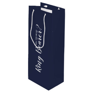 Will You Be My Ring Bearer? Modern Navy Blue Wine Gift Bag