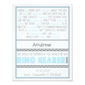Will you be my Ringbearer Baby Blue / Gray Card 11 Cm X 14 Cm Invitation Card