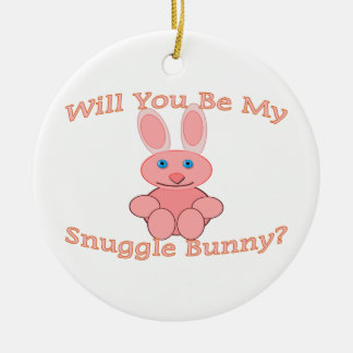 Will You Be My Snuggle Bunny Ceramic Ornament