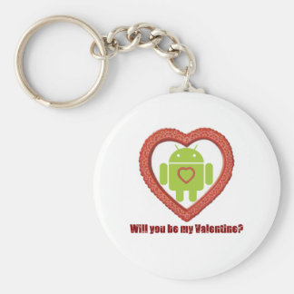 Will You Be My Valentine? (Android Fan / Lover) Basic Round Button Key Ring