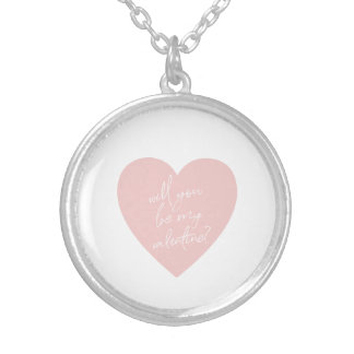 """""""Will you be my Valentine?"""" pink heart necklace"""