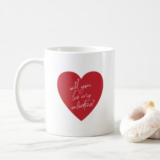 'Will you be my Valentine?' red heart mug