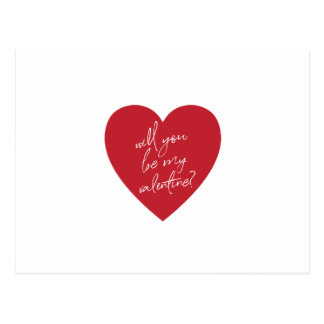 """""""Will you be my Valentine?"""" red heart postcard"""