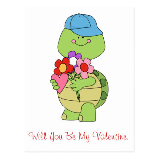 Will You Be My Valentine Turtle Postcard