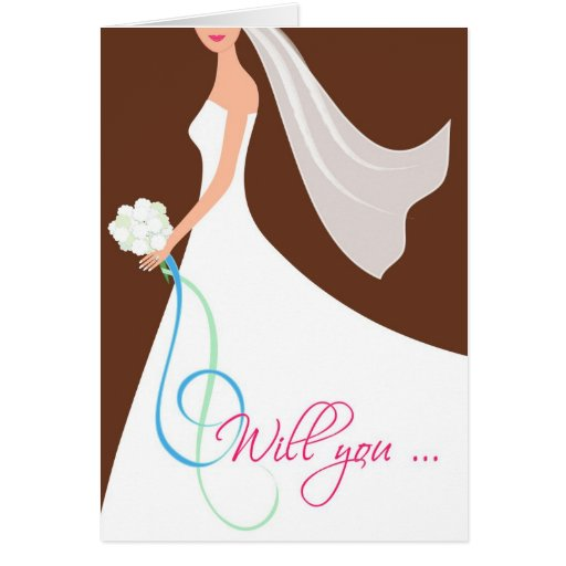 Will You? Cutstom Bridesmaid Card  - Chocolate