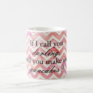 """Will you make me pancakes"" watercolor chevron mug"